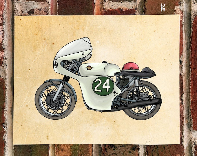 KillerBeeMoto: Limited Hand Drawn Print Vintage 1960's Ducati 250 Race Bike 1 of 50