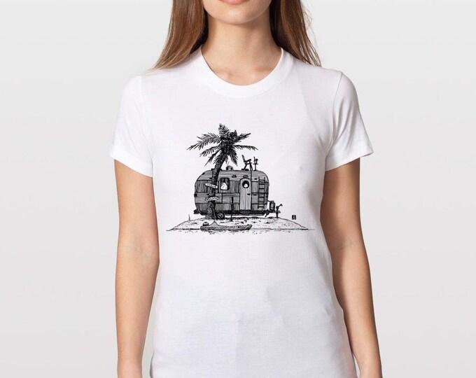 KillerBeeMoto: Vintage Hand Drawn Trailer On Deserted Island Short or Long Sleeve T-Shirt