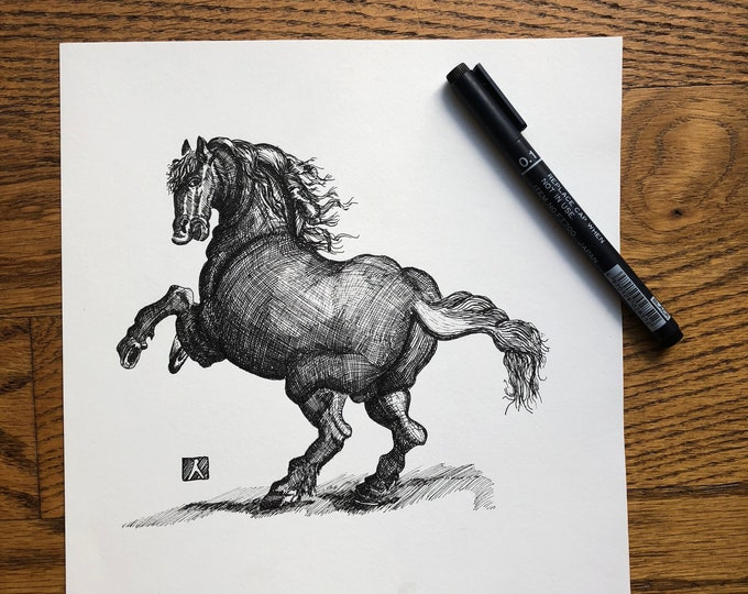 Unframed Pen Sketch of Vintage Etching Drawing of Full Bodied Horse