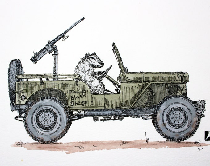 KillerBeeMoto: Pen Sketch With Water Color of a Sheep in a Jeep - Reproduction Print