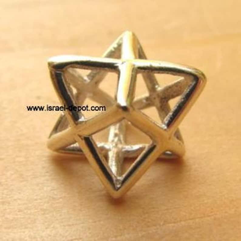 Silver Kabbalah Merkaba 3D Magen David Pendant image 0