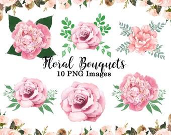 Pink flower clipart etsy blush pink flower clipart florals clip art wedding invitation design elements 10 png images mightylinksfo