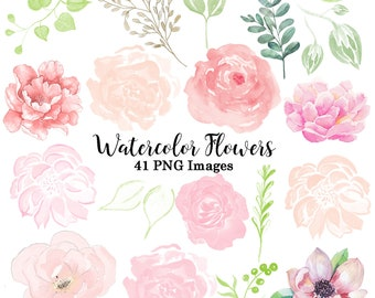 Watercolor flowers etsy watercolor flower clipart florals clip art wedding invitation design elemants flowers 41 png images mightylinksfo