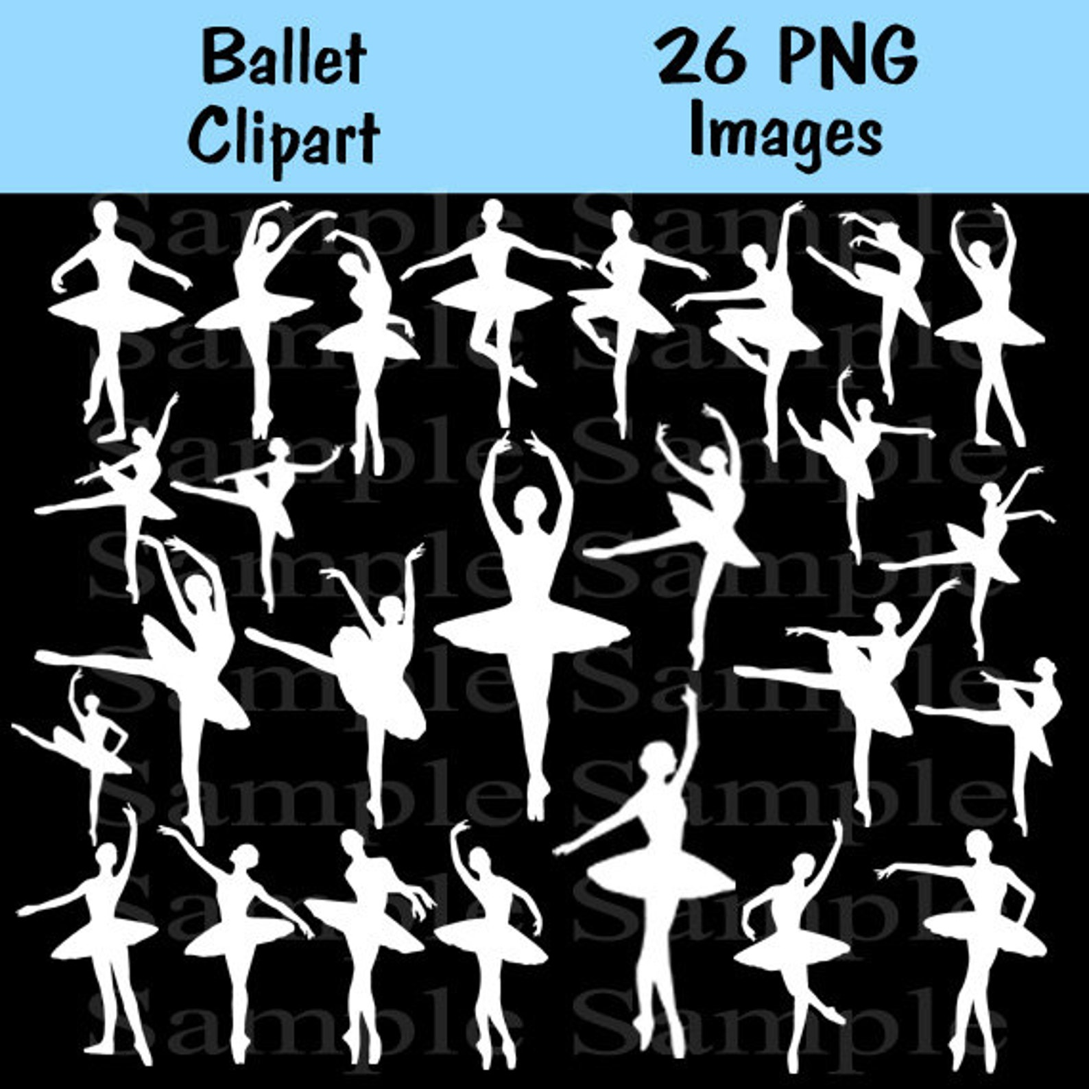 ballet silhouette digital clipart , instant download silhouette, clipart ballerina, ballerina, personal and commercial use 26 im