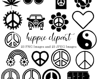 Hippie Black and White Silhouette Clipart, Birthday, Invitations Clip Art, Digital Download, 60s 70s Clip Art, .PNG .JPEG Images