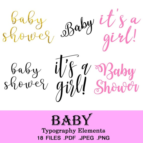 18 Files Baby Girl It S A Girl Baby Shower Typography Etsy