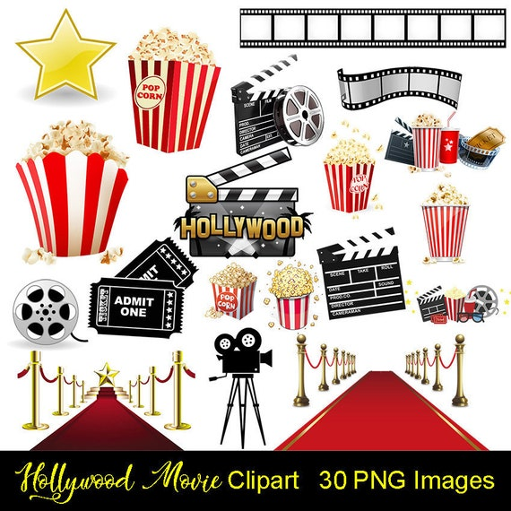 Hollywood Movie Night Digital Clipart INSTANT DOWNLOAD | Etsy