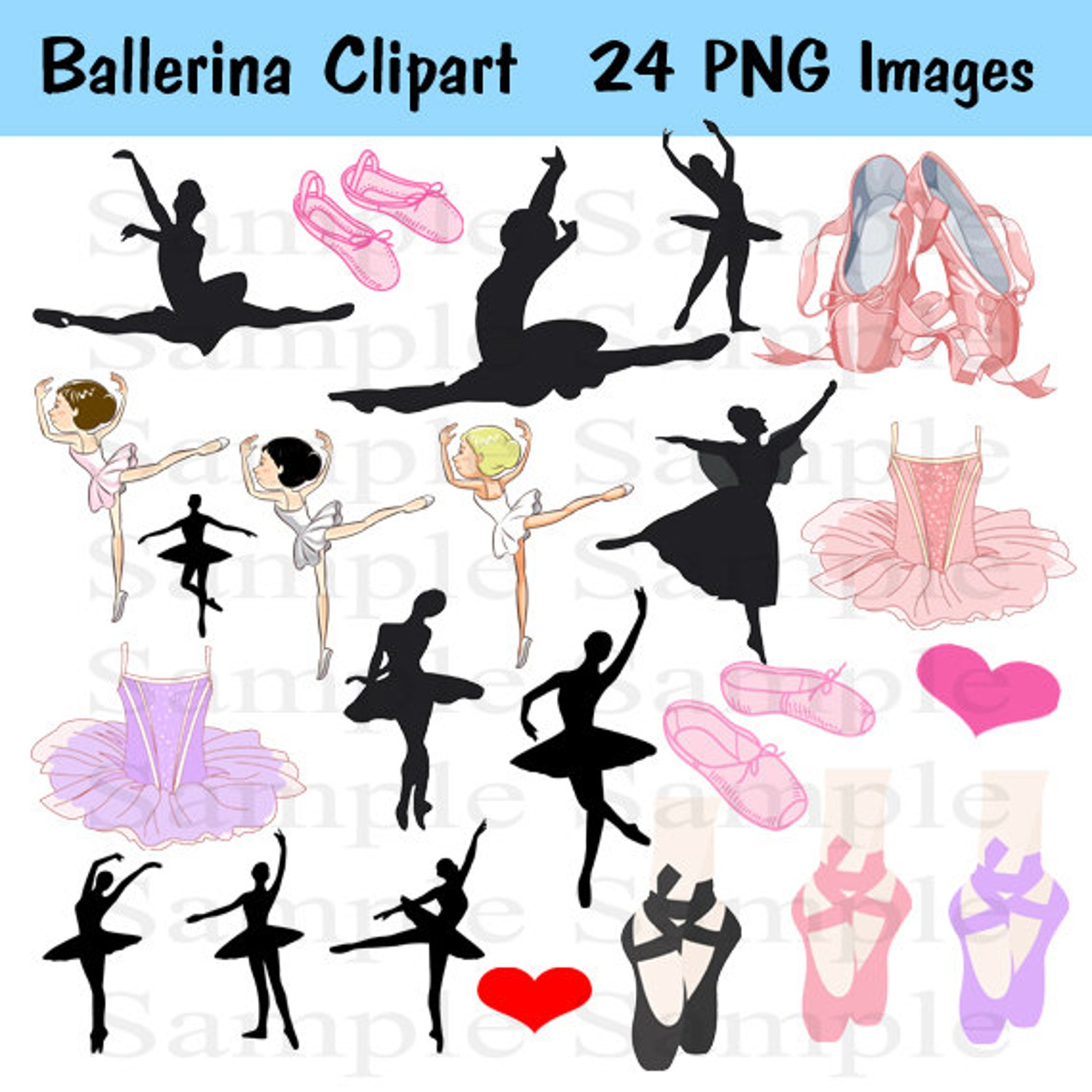 ballet silhouette digital clipart , instant download , clipart ballerina, ballerina, personal and commercial use 24 images