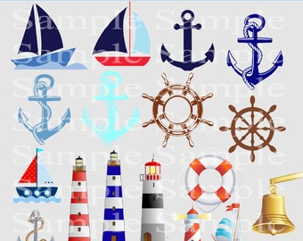 Nautical Clipart, Instant Download Anchor PNG Images clip art Helm Clipart Sailor Clipart Clipart -Personal and Commercial Use