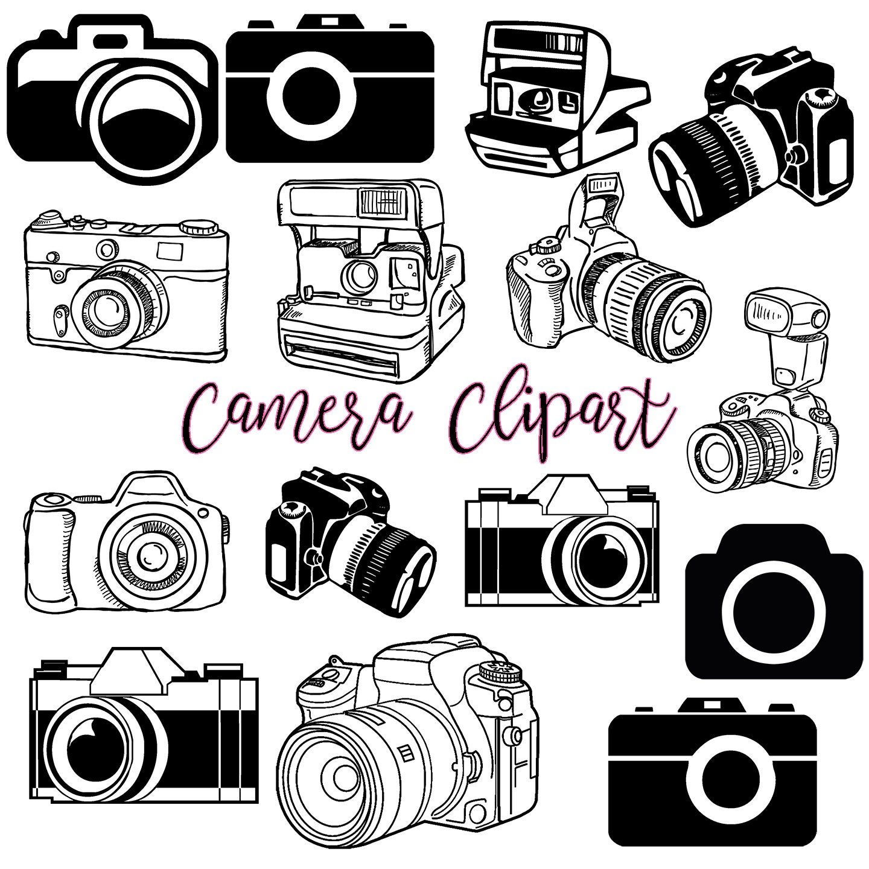Camera Clipart, Photography Clip Art Logo Elements, Stamps, Retro Camera  Clip Art, Vintage Camera Clip Art   20 Images .PNG .PDF .JPEG