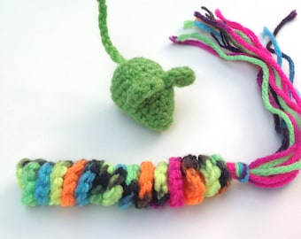 Green Cat Toy Bundle Made with HOMEGROWN ORGANIC Catnip/2 Crocheted Cat toys/Catnip Filled Small Mouse/Spiral Yarn Toy/Cat Gift Set