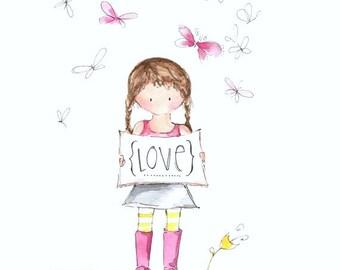 Butterfly girls painting - Children's art print - Girls room art wall print - Little girl illustration - Butterfly art - Girls room decor