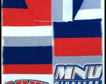 Long Scarf MNU Mid AMERICAN Nazerene University PIONEERS Team Spirit Upcycled Men's Woman's Unisex T-Shirt New Handmade Scarves