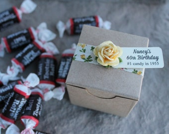 Kraft favor boxes, 2 inch square, set of 50, wedding favor boxes