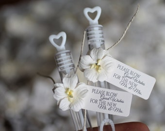 """ASSEMBLED wedding bubbles, bubble send off, """"please blow good wishes for the new mr & mrs"""", bubble wands, ivory blossom flowers"""