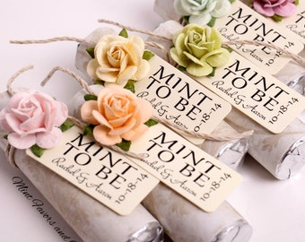 Pastel mix of rose colors with custom tags, decorate your own wedding favors