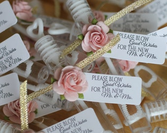 """Blush and gold ASSEMBLED wedding bubbles, bubble send off, """"please blow good wishes for the new mr & mrs"""", bubble wands"""