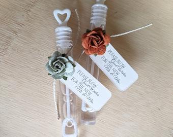 ASSEMBLED wedding bubbles, bubble send off, bubble wands, copper or terracotta wedding colors