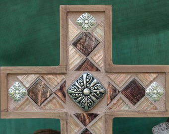Mosaic Cross~Plum Cross~Gold Cross~Glass Cross~Wall Cross~Unique Cross~Christian Decor~Housewarming Gift~Wedding Gift~Baptism Gift~Keepsake