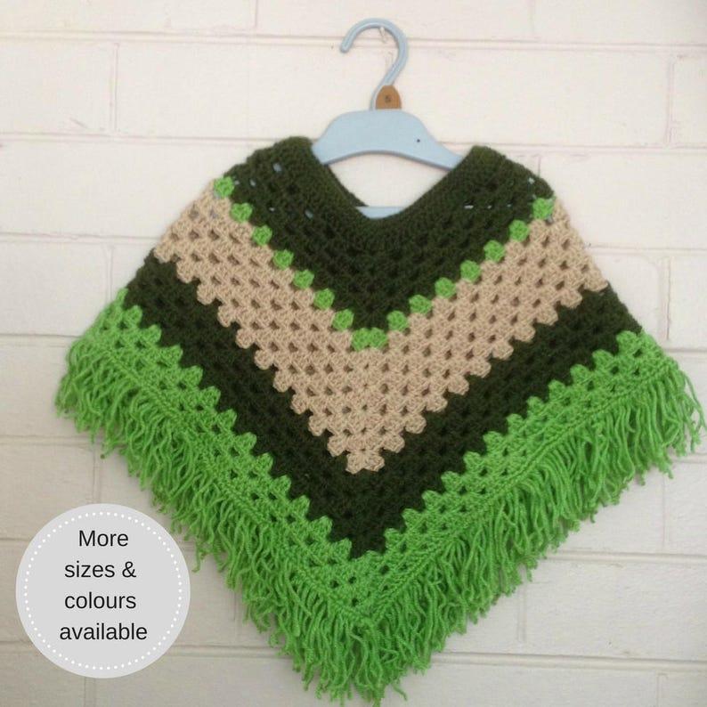 Crochet Kids Poncho Top Girls Mexican Poncho Kids Wear Etsy
