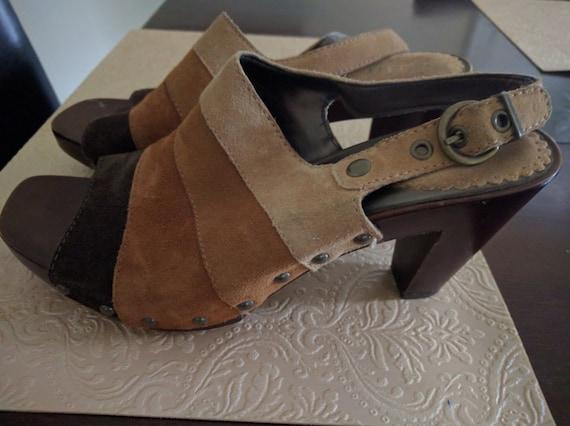 1e4c163d17f00 multi colored striped suede leather platform shoes. 8 1/2