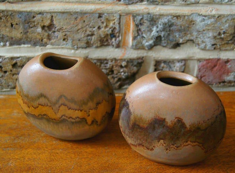 - Finnish studio pottery PAIR of Kamini Studio pottery Pebble Vases earth tone vase Scandinavian mid century mid century Finnish
