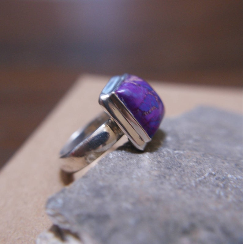 Rustic Large Purple Copper Turquoise set on Sterling Silver Ring hand cut Mohave Turquoise silver ring