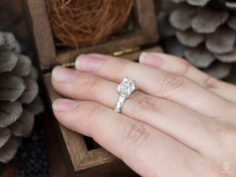 clear rock crystal raw rock crystal gemstone sterling silver boho ring massive stone ring roughstone raw stone Herkimer Diamond Ring