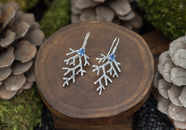 Marine Jewelry Set Mermaid Engagement Silver earrings and pendant with faceted kyanite Textured silver coral twig Fantasy elven set