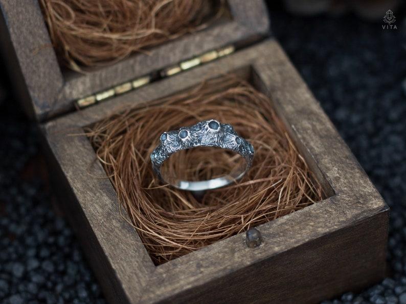 Handgefertigte Vintage Silver Moon Phase Finger Ring Mond Band Schmuck Größe 6 1