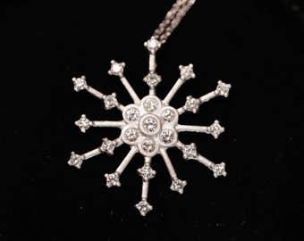 White gold diamond snowflake