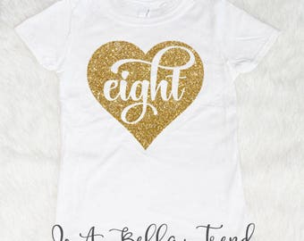 Eight Heart Birthday Shirt Girl 8th 8 Year Old Outfit And Fabulous