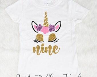 Nine Unicorn Birthday Shirt Girl 9 9th Glitter Outfit