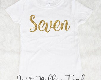 Seven Birthday Shirt 7th Girl 7 Year Old
