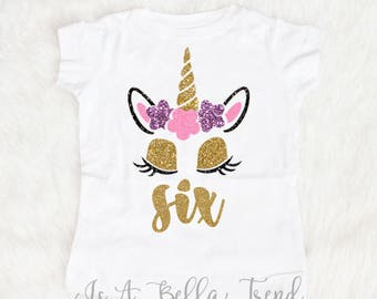 Six Unicorn Birthday Shirt Girl 6th 6 Year Old Outfit