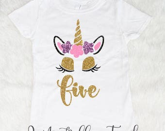11bc1ec35 Five Unicorn Birthday Shirt-Birthday Kid Shirt-5 Year Old Birthday-Girl  Birthday-Shirts For Girls-Five And Fabulous-5th Birthday Shirt