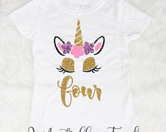 Four Unicorn Birthday Shirt Girl Shirts For Girls 4th Outfit 4 Year Old