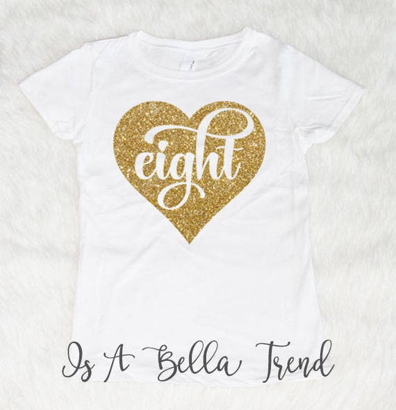 Eight Heart Birthday Shirt Girl 8th