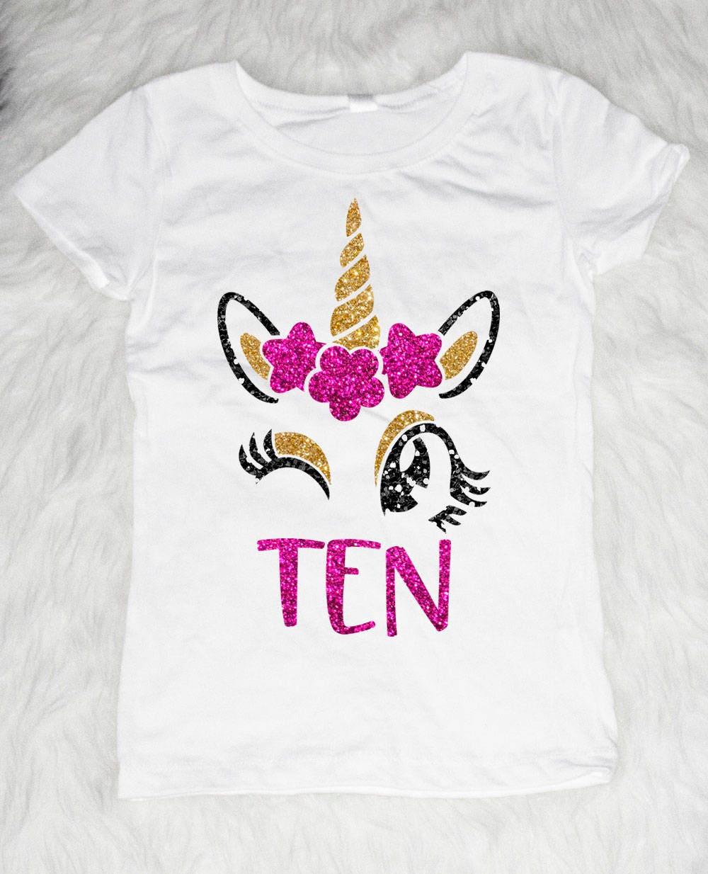 Ten Winking Unicorn Birthday Shirt Girl