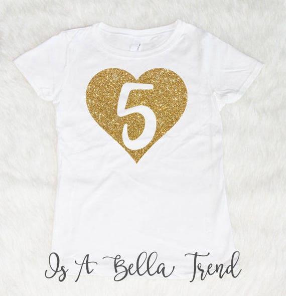 5 Heart Birthday Shirt Girl 5th