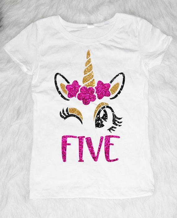 Five Unicorn Birthday Shirt Girl 5 Year Old