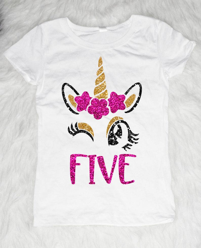 95d5641a1 Five Unicorn Birthday Shirt Birthday Kid Shirt 5 Year Old | Etsy