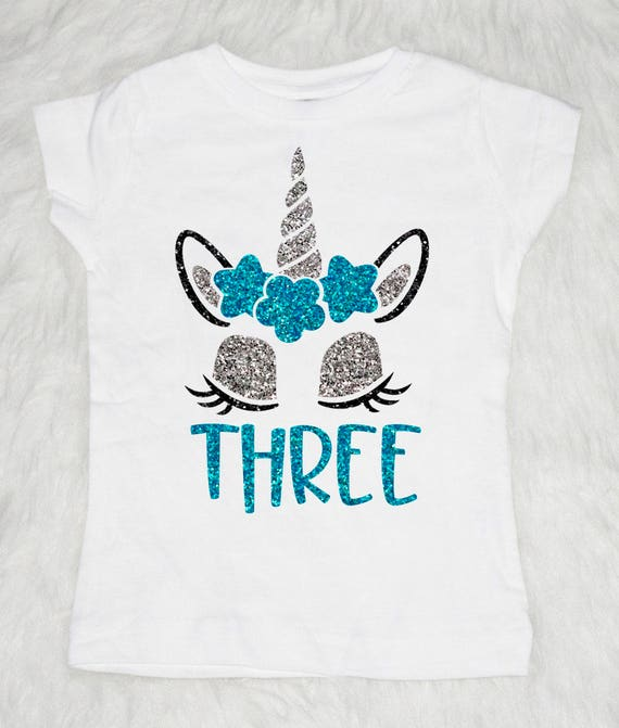 Three Unicorn Birthday Shirt Girl 3rd