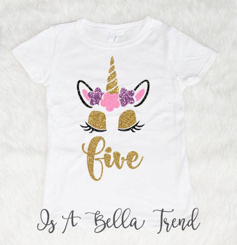 Five Unicorn Birthday Shirt Girl 5 Year Old