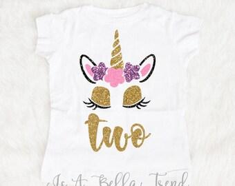 Two Unicorn Birthday Shirt, Birthday Girl Shirt, Unicorn Birthday Outfit, Two year old birthday shirt, Two birthday outfit, Second birthday
