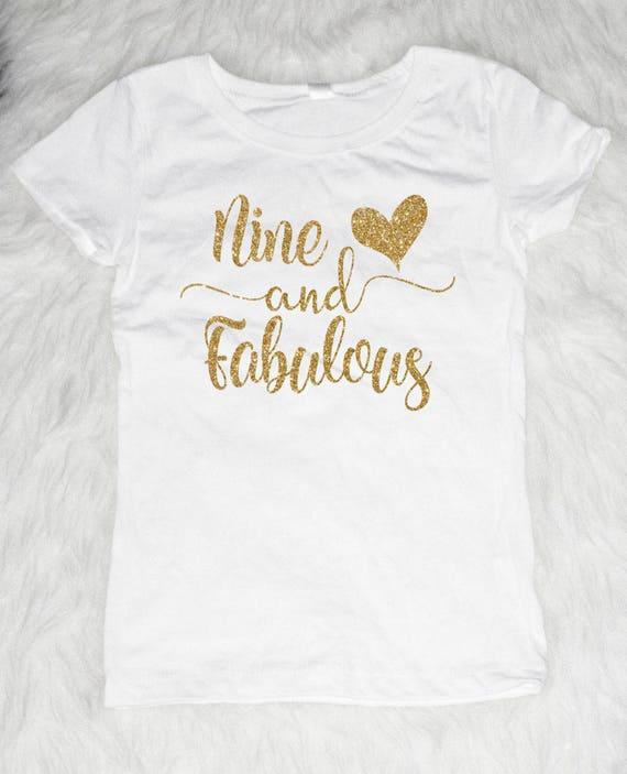 Nine And Fabulous Shirt Nine Birthday Shirt 9th Birthday