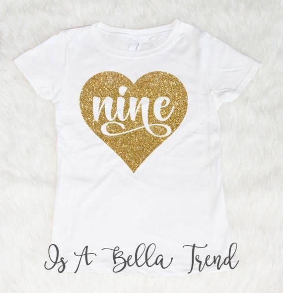 Nine Heart Birthday Shirt Girl 9th