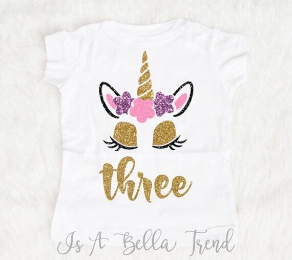 Three Unicorn Birthday Shirt Girl 3rd