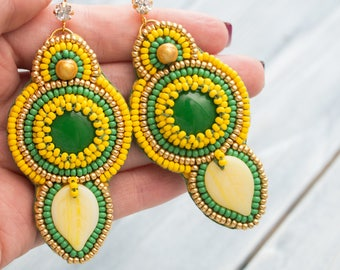Yellow Embroidered Earrings, Tropical Earrings, Women Large Earrings, Beaded Earrings ,Yellow Green Earring, Beauty gift, summer outdoor