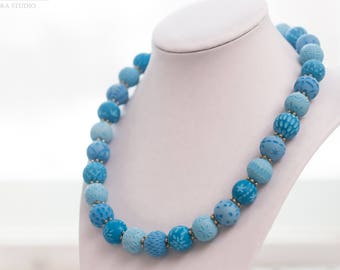 Gift for wife, Blue necklace, Valentines day gift, Wife birthday gift, Beaded necklace, Necklace gift, Girlfriend Gift, Women's Jewelry